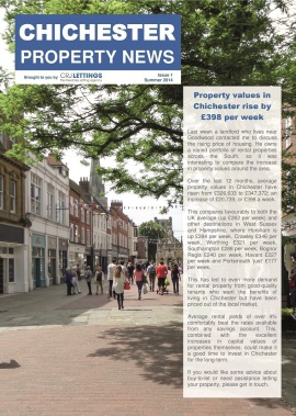 Chichester Property News - Property values in Chichester rise by £398 per week